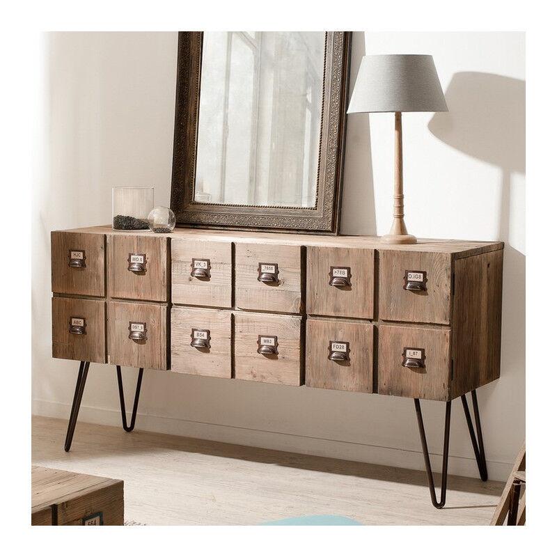 SO INSIDE Buffet industriel 2 portes 2 tiroirs métal et bois Orianne