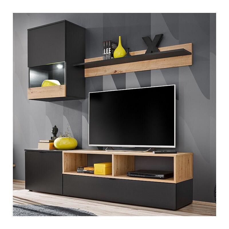 SO INSIDE Ensemble TV noir mat et bois avec rangements EPIC