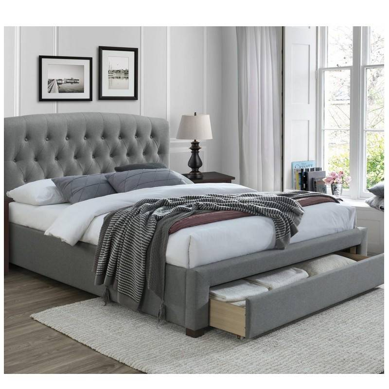 SO INSIDE Lit 160 x 200 cm en tissu gris avec tête de lit capitonnée et tiroir de rangement Loud