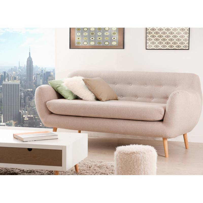 SO INSIDE Canapé tissu beige déhoussables 3 places Oscar