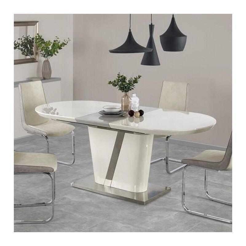 SO INSIDE Table à manger ovale grise et beige avec rallonge Elisée