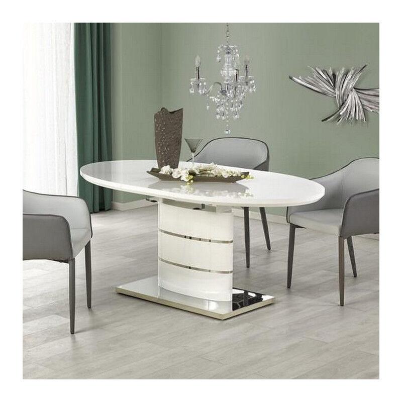SO INSIDE Table salle a manger ovale blanche laquée avec rallonge Ipson