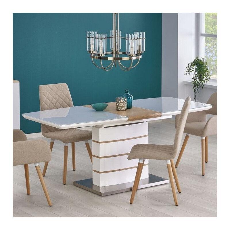 SO INSIDE Table contemporaine blanc laqué et bois 140-180x80cm Will