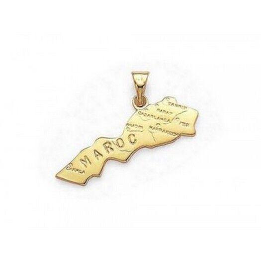 superbijoux Pendentif carte du Maroc en plaqué or