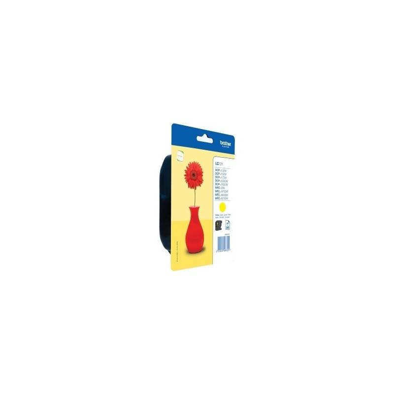 Brother Cartouche d'encre jaune Brother pour DCP J132w ... (LC121Y)