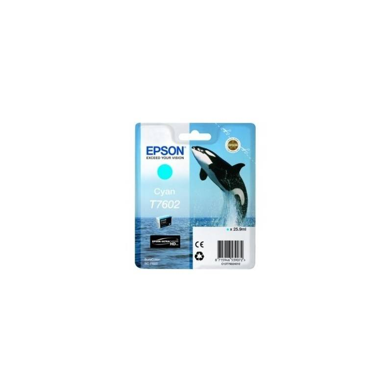 Epson Cartouche Encre Cyan pour EPSON SureColor SC-P600 (T7602) (Orque)