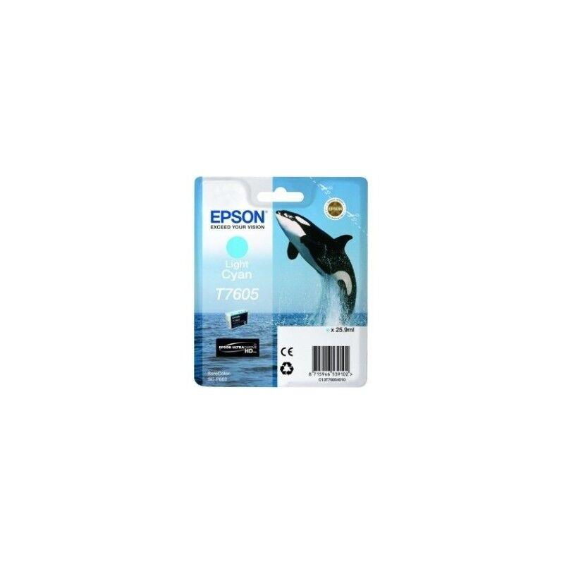 Epson Cartouche Encre Cyan clair pour EPSON SureColor SC-P600 (T7605) (Orque)