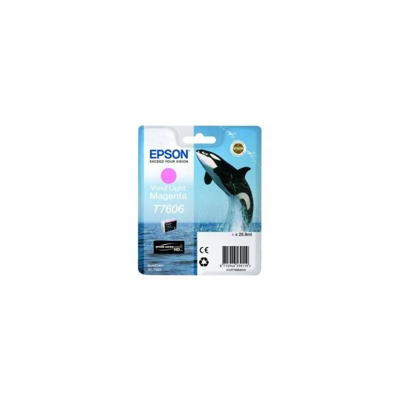 Epson Cartouche Encre Magenta clair pour EPSON SureColor SC-P600 (T7606) (Orque)