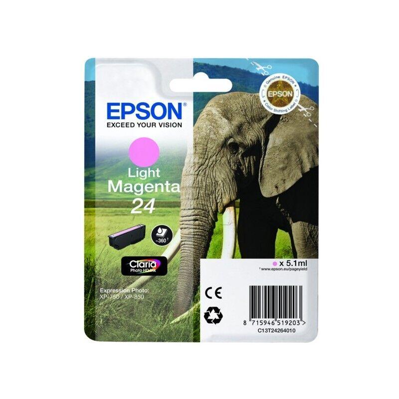 Epson Cartouche magenta clair éléphant Epson série 24 pour expresssion photo XP750 / XP850 (C13T24264012)