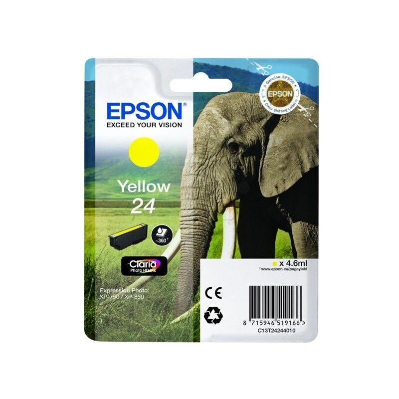 Epson Cartouche jaune éléphant Epson série 24 pour expresssion photo XP750 / XP850 (C13T24244012)