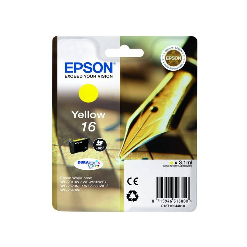 Epson Cartouche jaune Epson pour WorkForce WF-2010w / WF-2520nf ... (n°16 - plume) (C13T16244012)