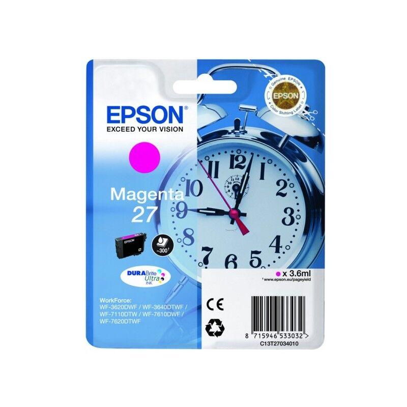 Epson Cartouche d'encre magenta Epson pour WorkForce 3620/ 3640/7620DTWF .. (n°27) (réveil) (C13T27034012)