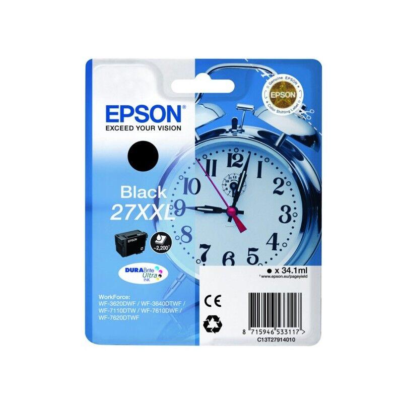 Epson Cartouche d'encre noire XL Epson pour WorkForce 3620/ 3640/7620DTWF .. (n°27XL) (réveil) (C13T27114012)