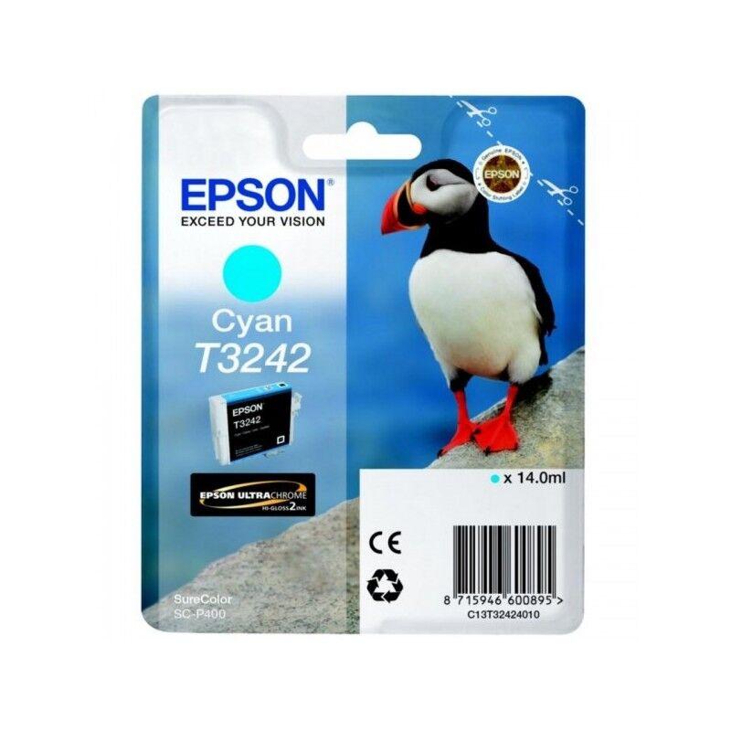 Epson Cartouche Jet d'encre T3242 Cyan EPSON MACAREUX (14 ml) pour Imprimante SureColor SC-P400