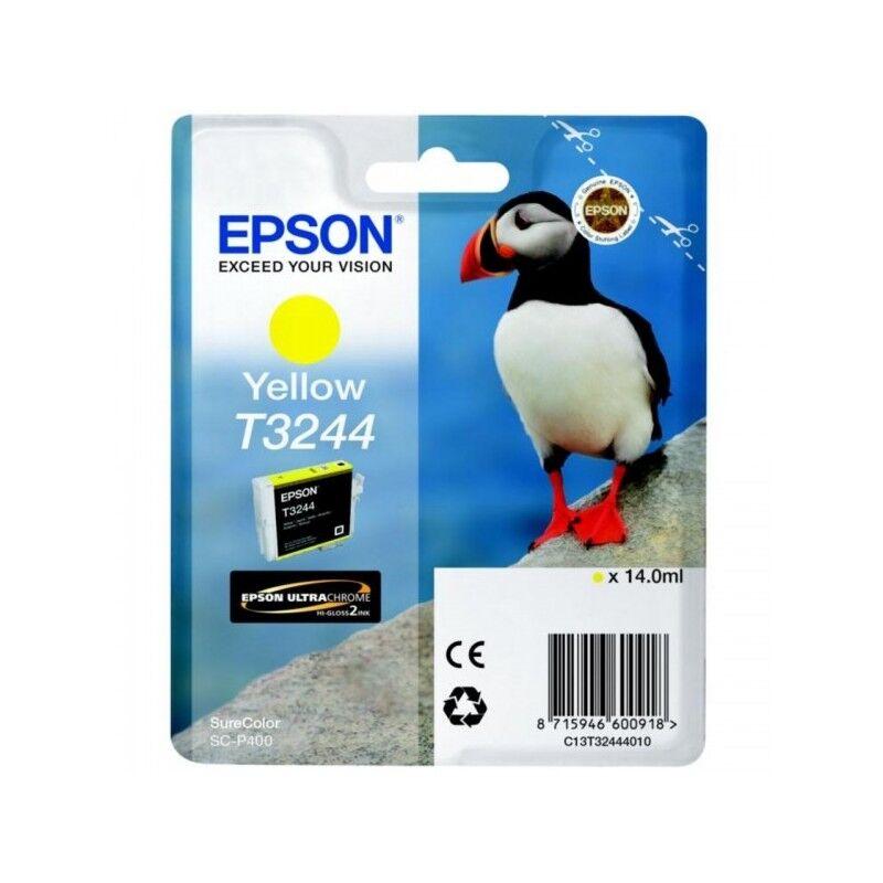 Epson Cartouche Jet d'encre T3244 Jaune EPSON MACAREUX (14 ml) pour Imprimante SureColor SC-P400