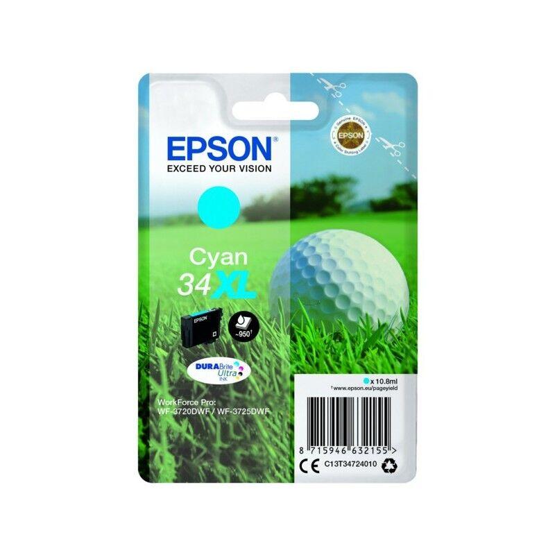 Epson Cartouche d'encre Cyan Haute Capacité Epson pour WorkForce 3720DWF/3725DWF .. (n°34XL) (balle de golf)