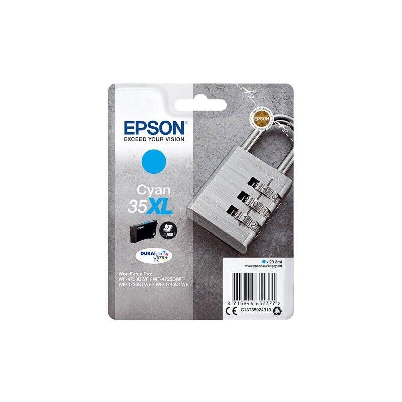 Epson Cartouche d'encre Cyan Haute Capacité Epson pour WorkForce Pro 4720DWF .. (n°35XL) (Cadenas)
