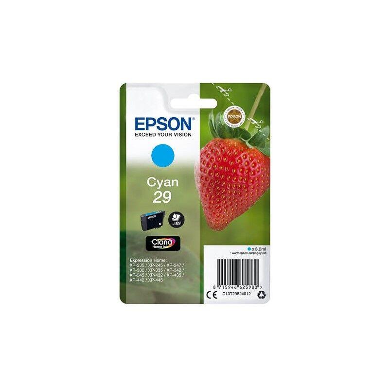 Epson Cartouche Cyan Epson pour Expression Home XP-235 / XP332 / XP-432 ... (n°29 - fraise) (C13T29824012)