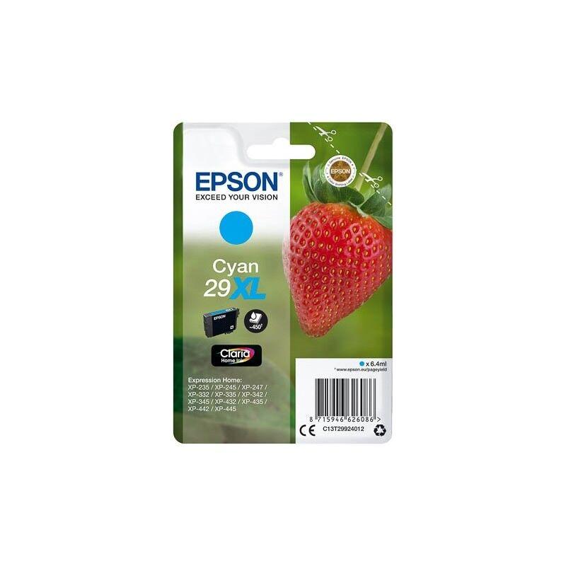 Epson Cartouche Cyan Epson Haute Capacité pour Expression Home XP-235 / XP332 / XP-432 ... (n°29XL - fraise) (C13T29924012)