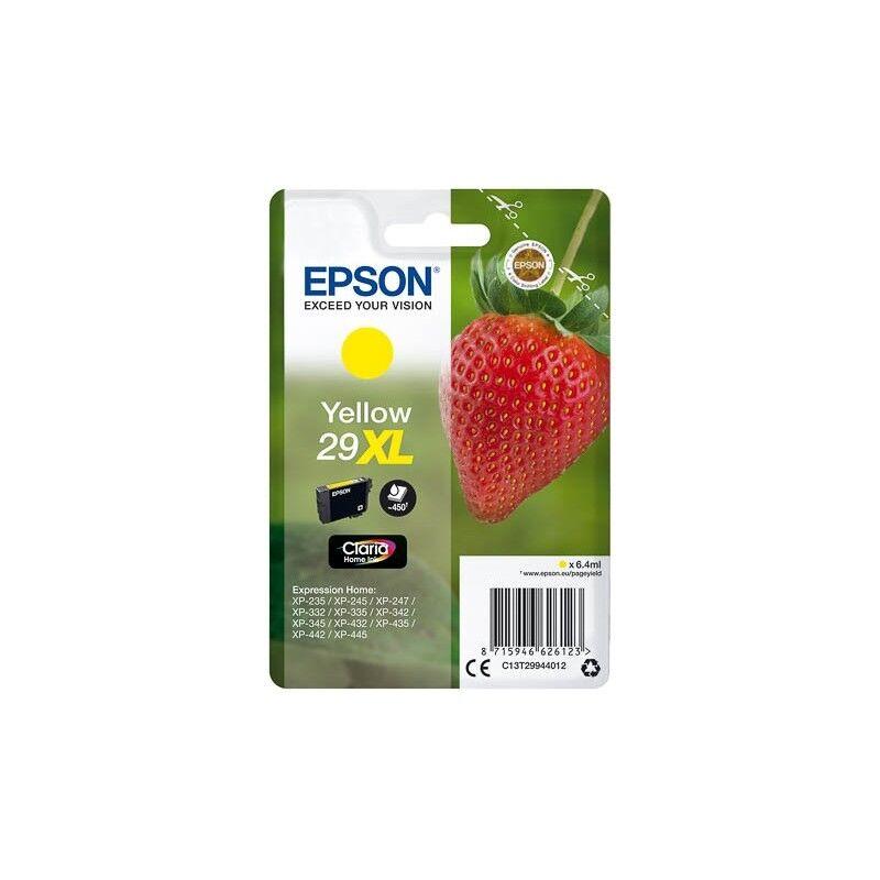 Epson Cartouche Jaune Epson Haute Capacité pour Expression Home XP-235 / XP332 / XP-432 ... (n°29XL - fraise) (C13T29944012)