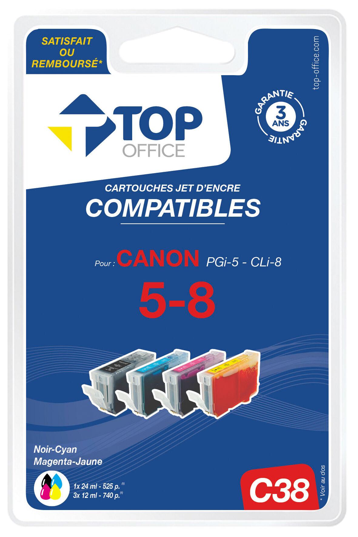 TOP OFFICE Pack de 4 cartouches jet d'encre compatibles CANON : PGI5 / CLI8 - TOP