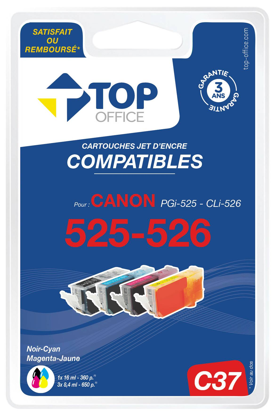 TOP OFFICE Pack de 4 cartouches jet d'encre compatibles CANON PGI-525 et CLI-526