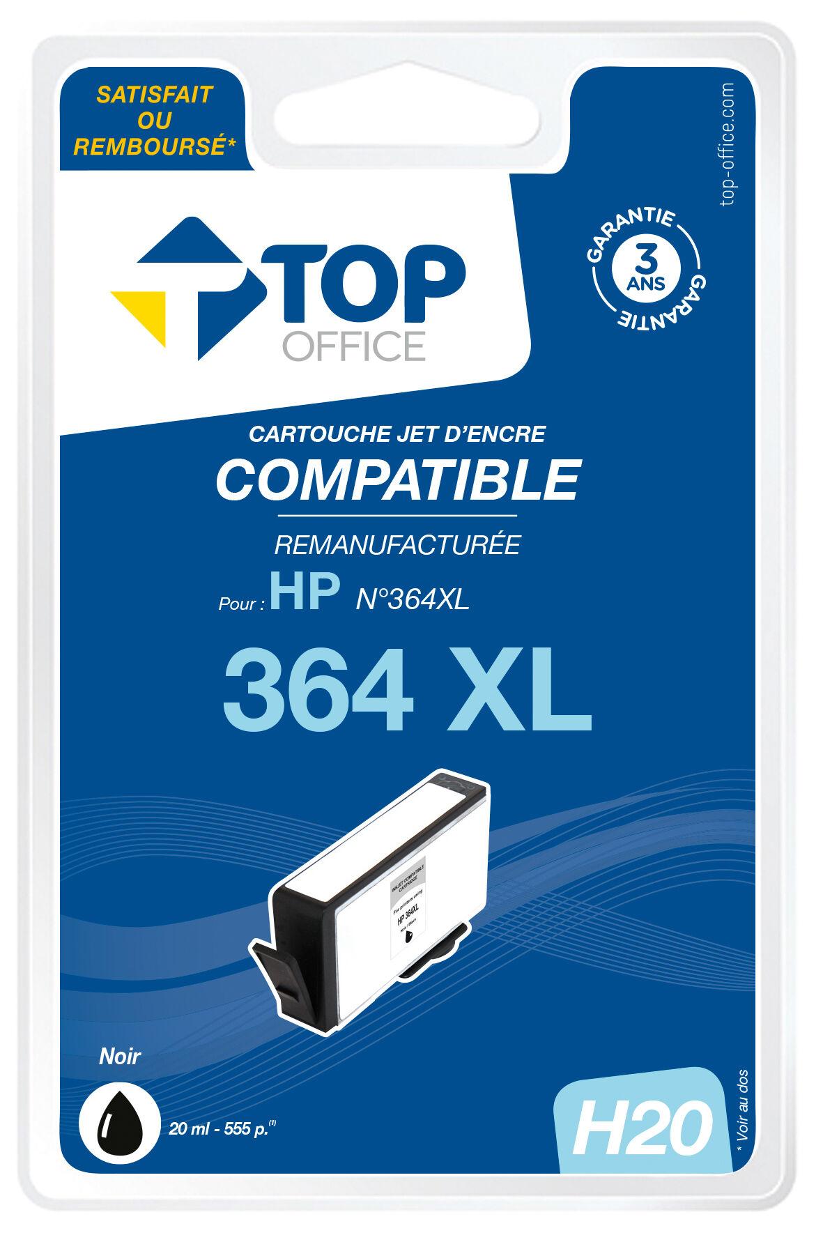 TOP OFFICE Cartouche jet d'encre compatible HP : 364 XL - TOP OFFICE - Noir