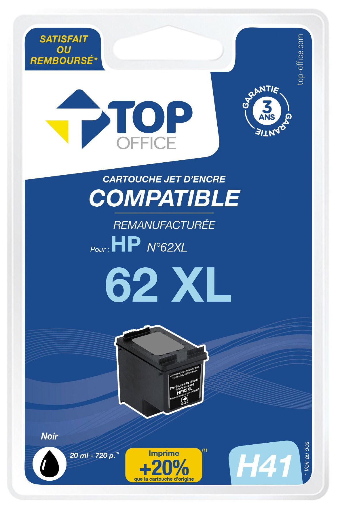 TOP OFFICE Cartouche jet d'encre compatible HP 62 XL - TOP OFFICE - Noir