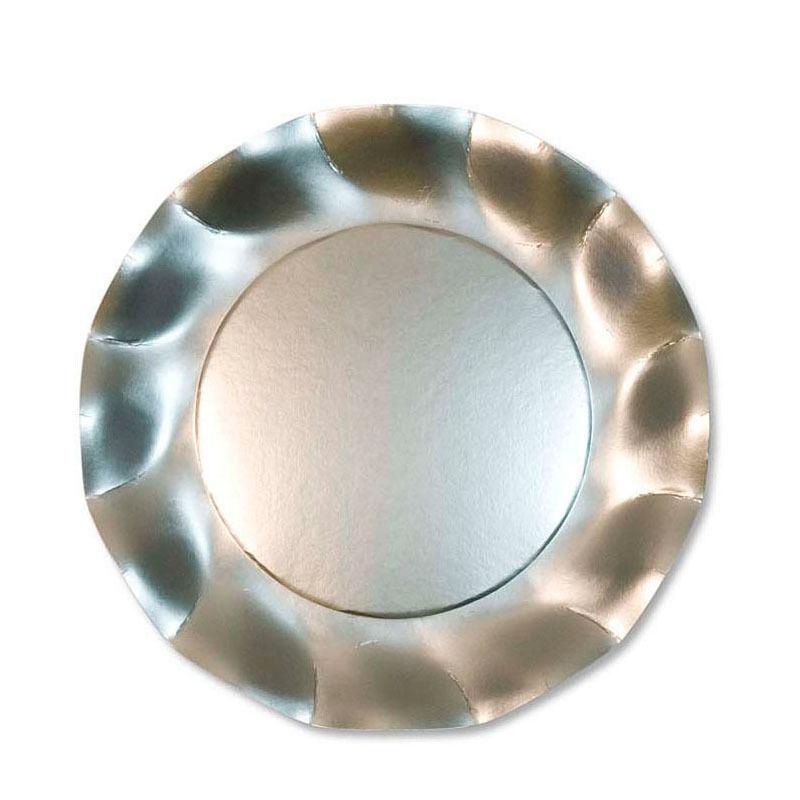 Unique 10 grandes assiettes rondes en carton argent satiné PARTY LINE 27 cm