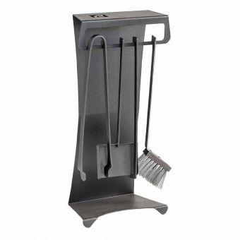 Viadurini Fire Design Ensemble de 4 outils de cheminée en acier design Made in Italy - Chandler