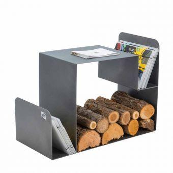 Viadurini Fire Design Support bois de chauffage de design pour l'intérieur en acier noir fabriqué en Italie - Tramontana