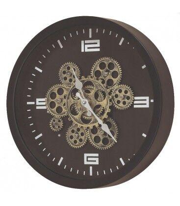 Wadiga Horloge Murale Ronde Métal Noir Rouages - Diamètre 38cm