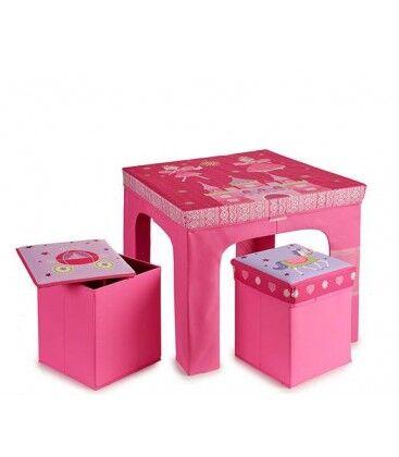 Wadiga Table + 2 Tabourets Enfant Pliables Princesse Rose