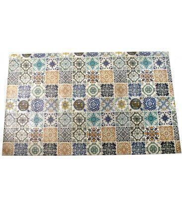Wadiga Grand Tapis de Cuisine Multicolore Motif Carreaux de Ciment en Vinyle - 120x195cm