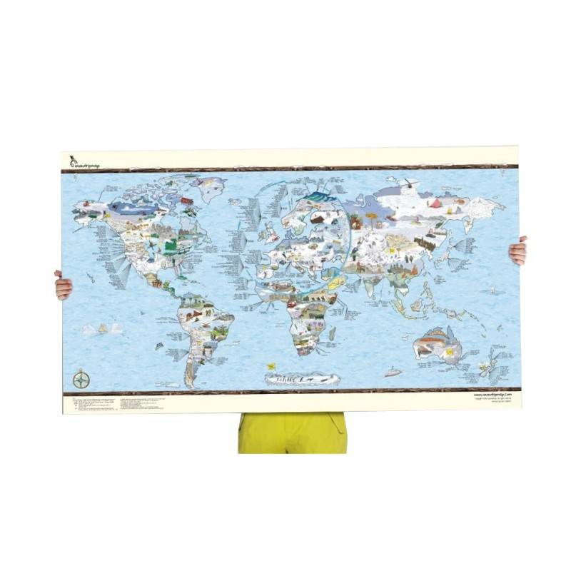 AWESOME MAPS Poster Carte du monde Snow Trip Awesome Map Re-writable