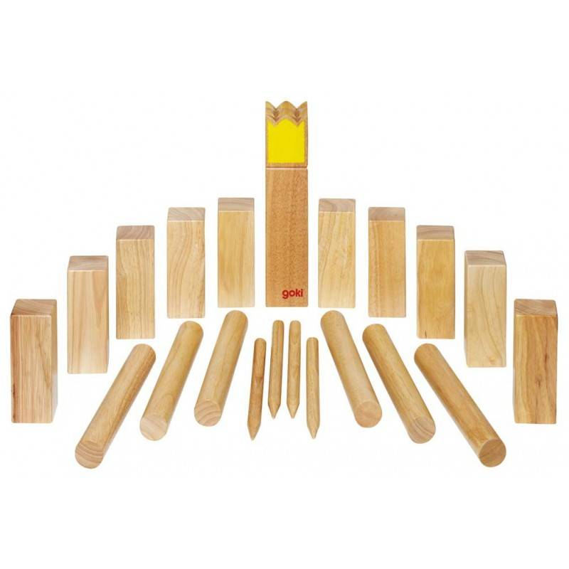 Goki jeux en bois Goki Kubb jeu de vikings grand modèle (roi jaune) - Jeu de plein air en bois