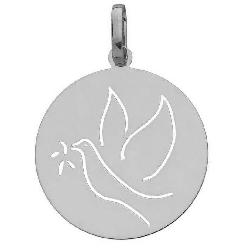 Mon Premier Bijou Médaille de la Colombe ajourée - Or blanc 18ct