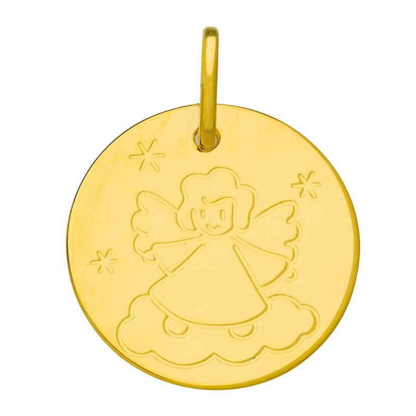 Mon Premier Bijou Médaille Ange sur son nuage - Or jaune 9ct