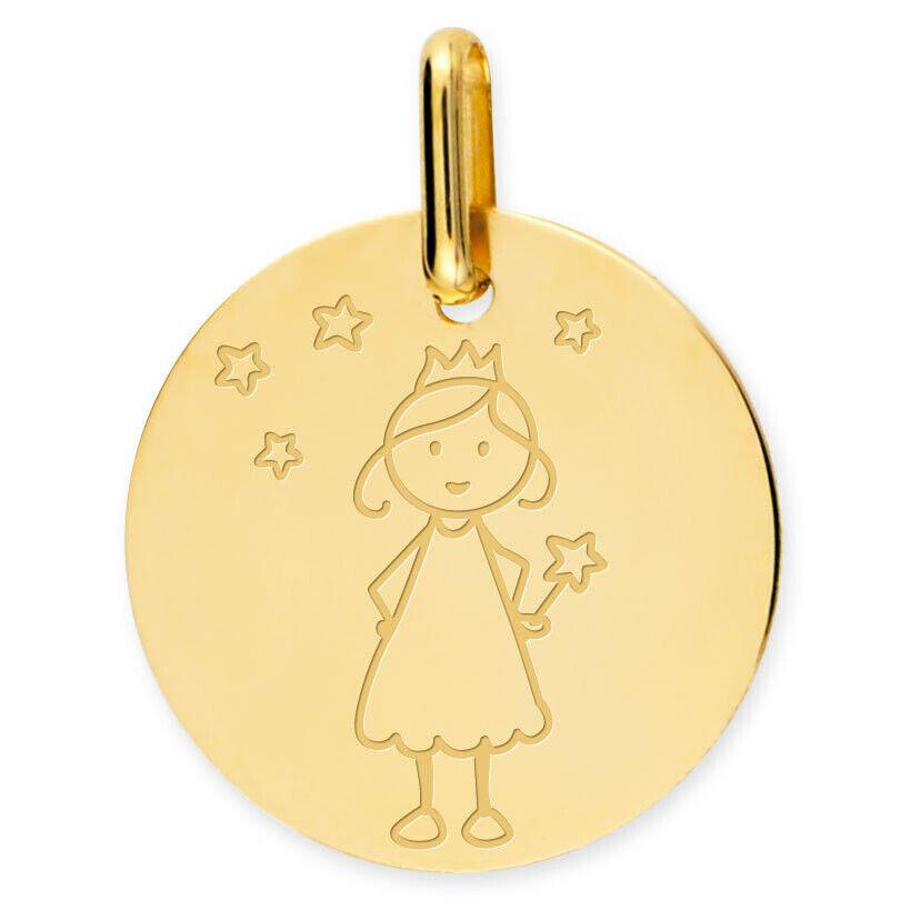 Mon Premier Bijou Médaille Petite Fée Etoilés - Or jaune 18ct