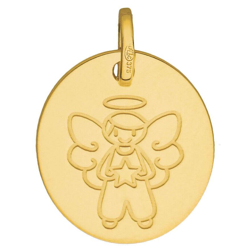Mon Premier Bijou Médaille Ange souriant à l'étoile - Or jaune 9ct