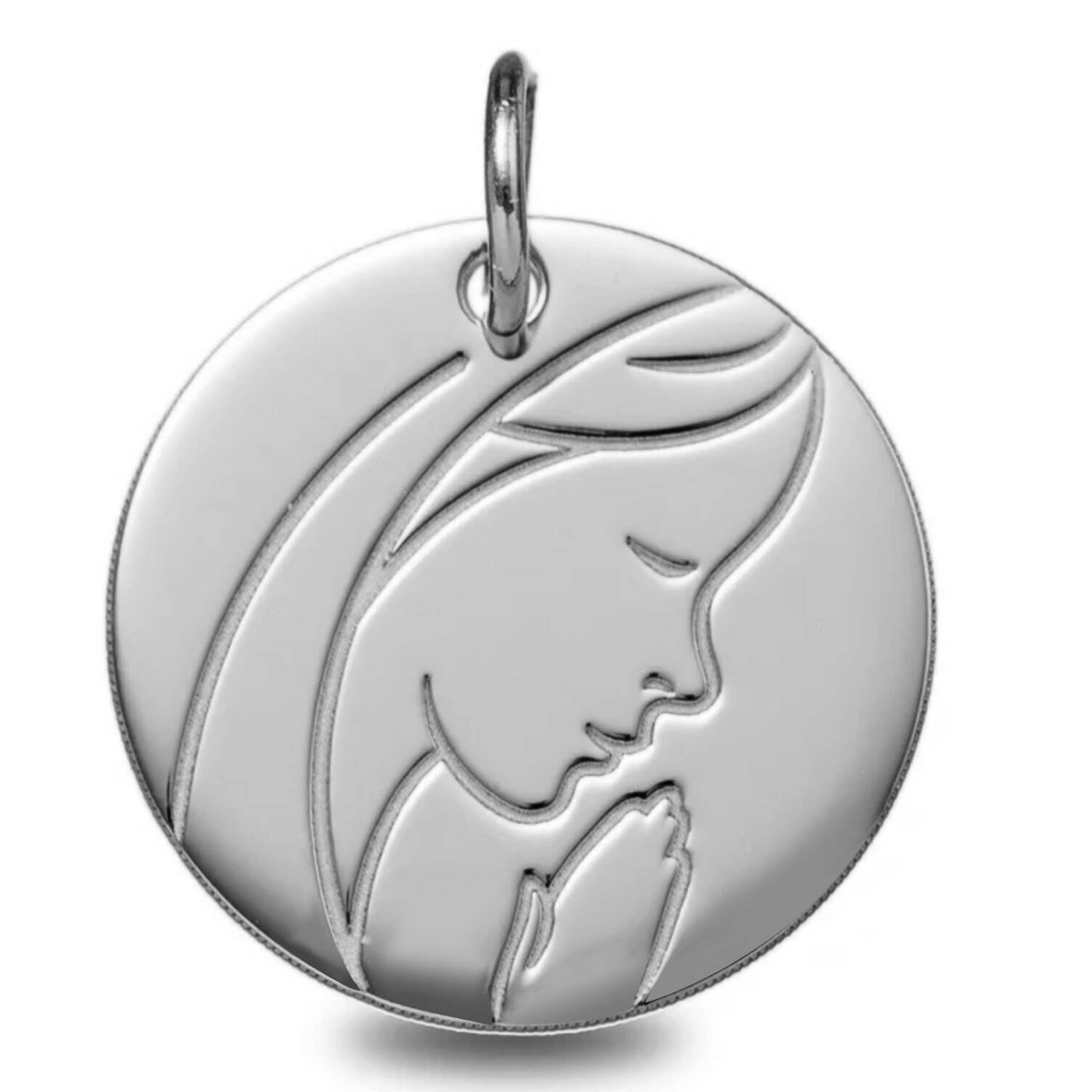 Mon Premier Bijou Médaille Vierge pieuse - Or blanc 9ct