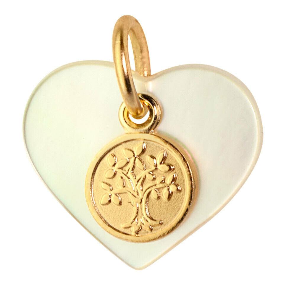 Mon Premier Bijou Médaille coeur arbre de vie - Or jaune 9ct & nacre