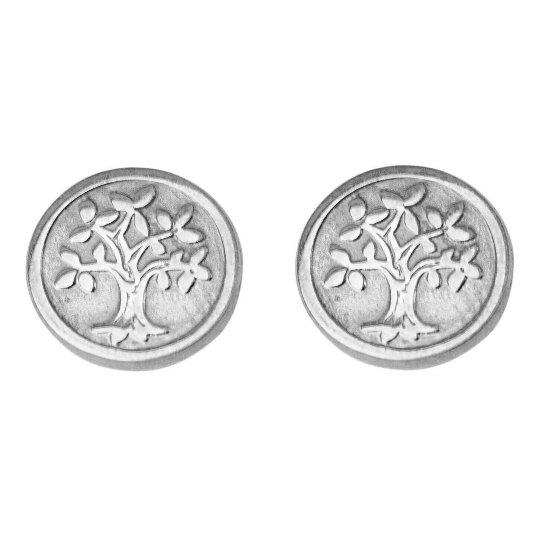 Mon Premier Bijou Boucles d'oreilles arbres de vies - Puces - Or blanc 9ct