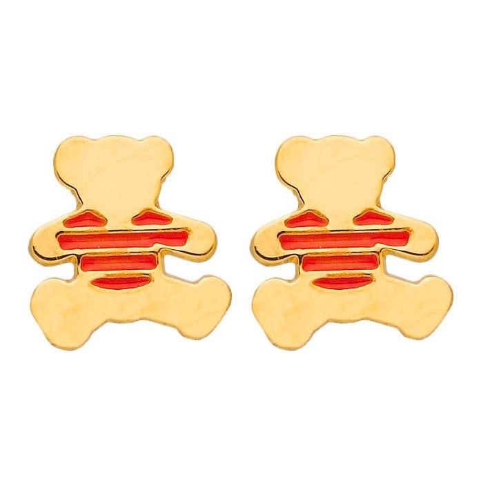 LuluCastagnette Boucles d'oreilles marinière corail LuluCastagnette - Puces - Or jaune 9ct