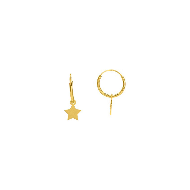 Mon Premier Bijou Boucles d'oreilles étoiles - créoles - Or jaune 9ct