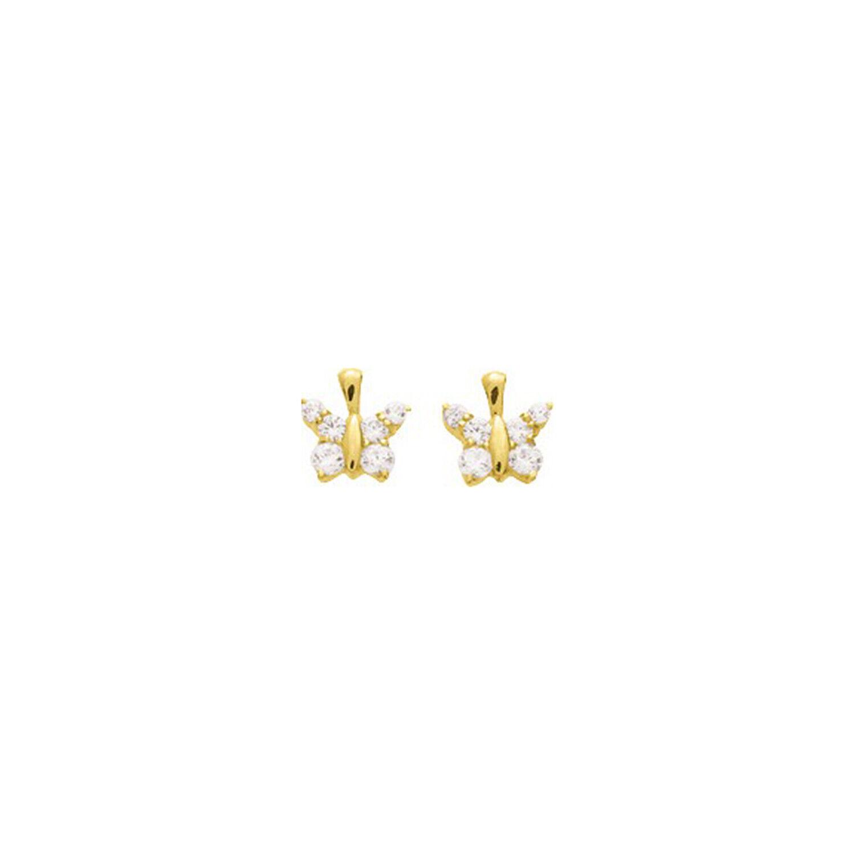 Mon Premier Bijou Boucles d'oreilles Papillon- Puces - Or jaune 18ct