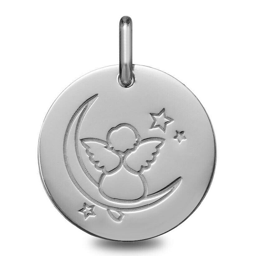 Mon Premier Bijou Médaille Ange sur la lune - Or blanc 18ct
