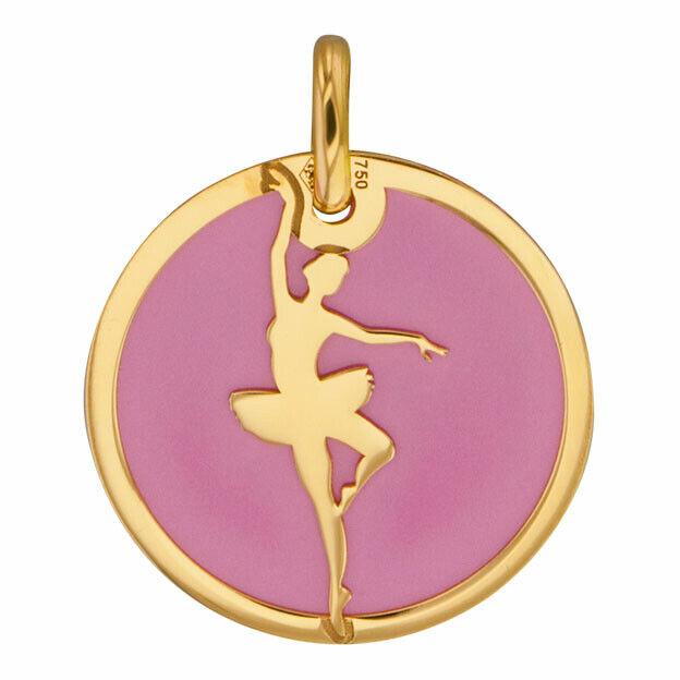 Mon Premier Bijou Médaille danseuse rose - Or jaune 18ct & acier