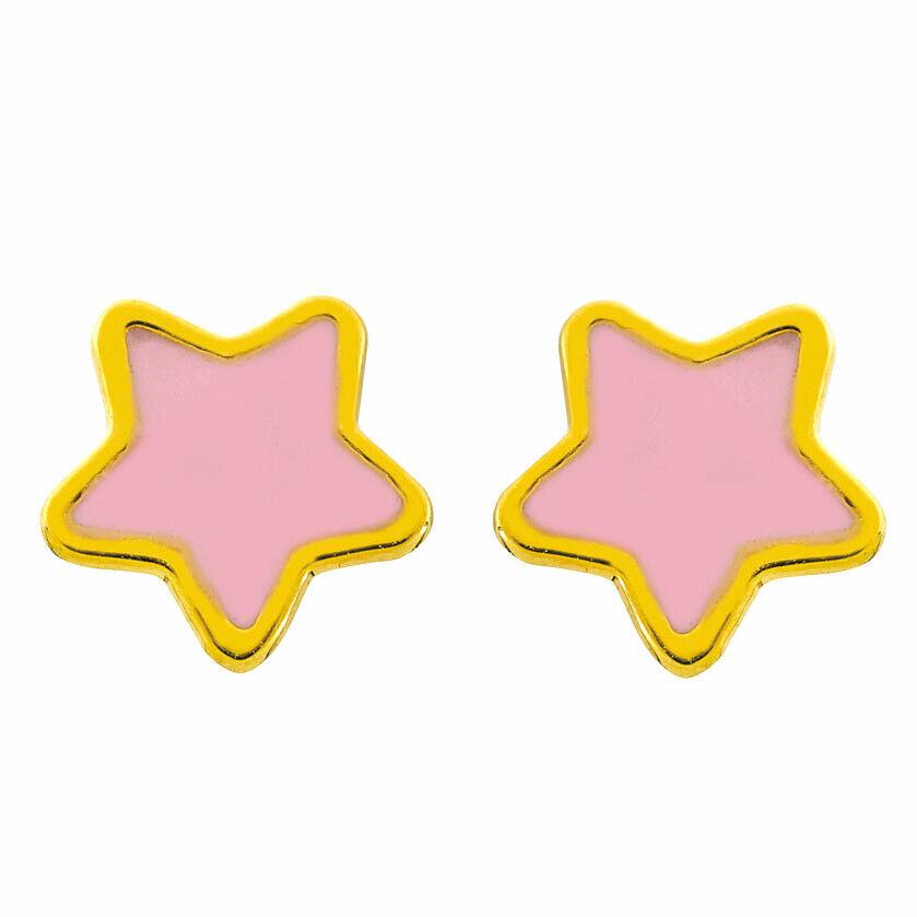 Mon Premier Bijou Boucles d'oreilles étoiles roses - Vis - Or jaune 9ct