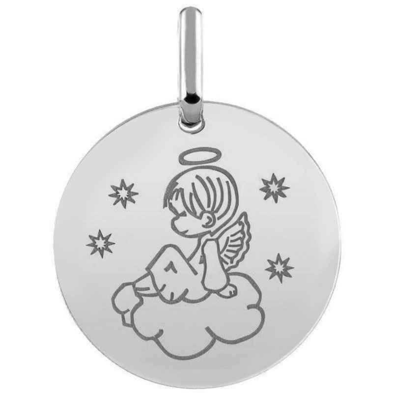 Mon Premier Bijou Médaille ange sur son nuage - Or blanc 18ct